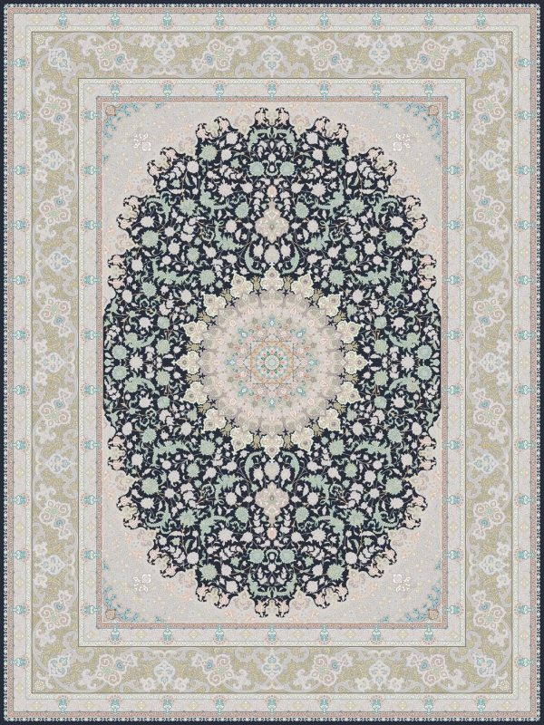G126 (Pink Carpet with Indigo Center) - Persian Rugs Wembley - Wembley Rugs